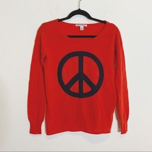 Autumn Cashmere Red Peace Sign Sweater 16A12